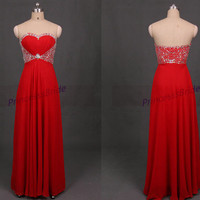 Long red chiffon prom dresses with sequins,2014 sweetheart gowns for graduation party,cheap women dress in handmade hot.