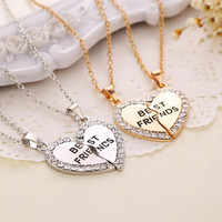 2pcs Rhinestone Heart Necklaces