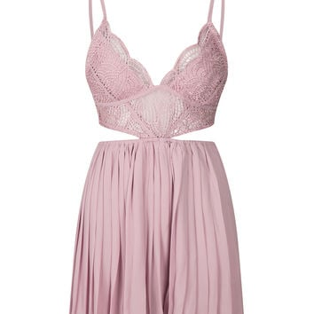 Nude Pink Lace Bralette Top Cross Back Pleated Skater Dress