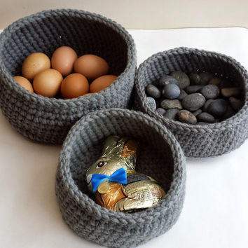 Sale - 20 % Handmade Crochet  Basket Set of 3 Slate Grey Easter Egg Basket Gift Storage Organiser Home Decor Mothers Day