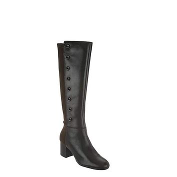 Isaac Mizrahi Live! Women's Olive Leather Studded Tall Boots