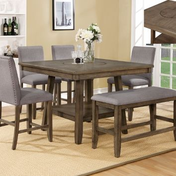 6 pc Manning brown finish wood counter height dining table set with grey chairs