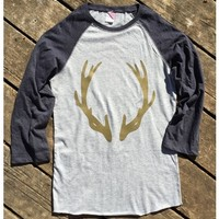 Women's Deer Antler Glitter 3/4 Sleeve Baseball T-Shirt - Heather/Navy