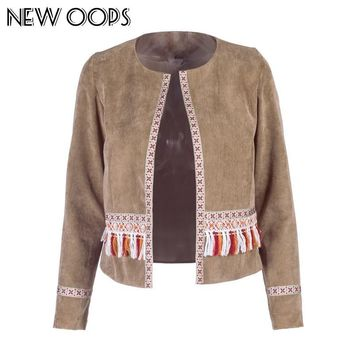 Trendy NEW OOPS Women Vintage Boho Tassel Cardigans New Arrival Bohemian Long Sleeve Floral Patchwork Autumn suede Jacket O1710409 AT_94_13