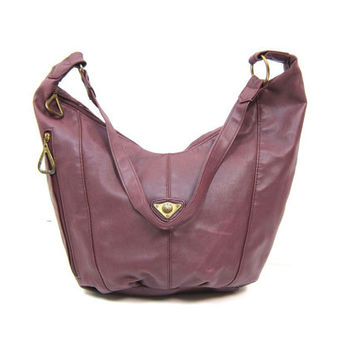 Large Purple Faux Leather Purse Slouchy Bag Vegan Shoulder Purse Crescent Moon Shaped Purse Boho Shoulder Sling Slouch hobo Bag