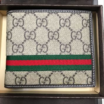 NWT Men's GG Gucci Signature Web Khaki Leather Wallet Free Shipping
