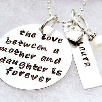 Personalized Necklace - Hand Stamped Necklace - The Love Between a Mother and Daughter is Forever