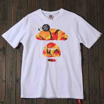 Bape Aape New Fashion Bust And Back Camouflage Print Short Sleeve Top T-Shirt White