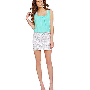 B. Darlin Scalloped Sequin Skirt Blouson Dress - Seafoam/White