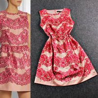 Red Sleeveless Floral Wave Swing Mini Dress