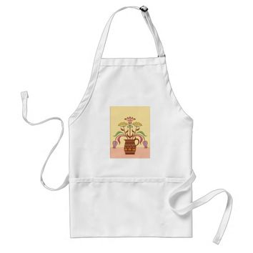 Pretty Brown Flowers Vase Standard Apron