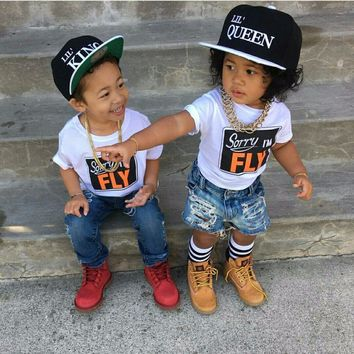 2017 New Children king queen Letter Baseball Cap Kid Boys And Girls Bones Snapback Hip Hop Fashion Flat Hat 2 pieces each lot