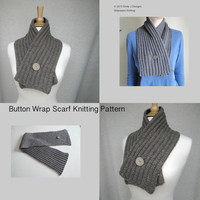Button Wrap Scarf Knitting Pattern, DIY, Crossover Scarf, Cowl Scarf, Neck Warmer, Worsted Yarn, Men & Women