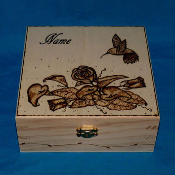 Decorative Rustic Wooden Jewelry Box Wood Burned Box Tea Box Jewellery Box Makeup Container Holder Personalized Wedding Hummingbird Gift