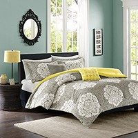 Intelligent Design -Tanya -All Seasons Comforter Set -4 Piece - Grey - Damask Pattern - Twin/TwinXL Size - Includes 1 Comforter, 1 Sham, 2 Decorative Pillows - Great For Dorm Room And Guest Room