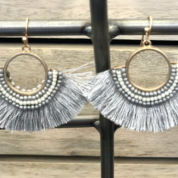 Just That Good Grey Tassel Earrings