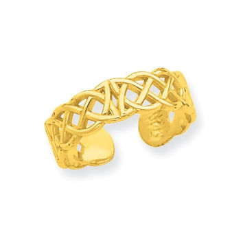14k Yellow Gold Solid Celtic Knot Toe Ring