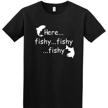HERE  FISHY FUNNY FISHINGes ADULT T SHIRT IN SIZES S - 5XL Harajuku  Shirt Top Tee Comical Shirt Men'SKawaii Pokemon go  AT_89_9