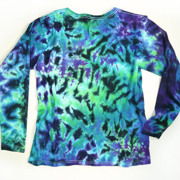 Ladies Long Sleeve Tie Dye Shirt, Womens Shirt, Cool Gems Colors, Eco-friendly Dyeing