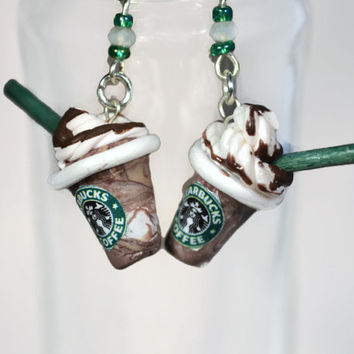 Starbucks Frappuccino Polymer Clay Earrings