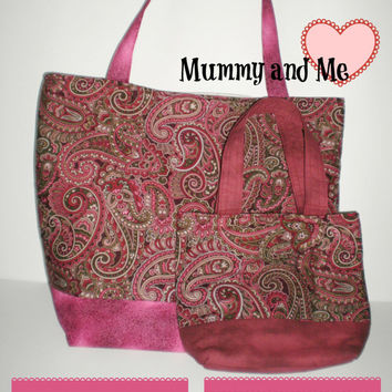 Tote Bags Mummy And Me New Handcrafted Travel Totes Knitting Crocheting Crafts Computer Shopping Bags Set of Two