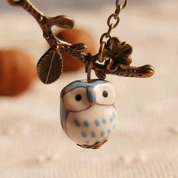 4 Color Branch Lovely Ceramic Owl necklaces & pendants for Women 2016 Handmade colar vintage Jewelry Girl Accessories