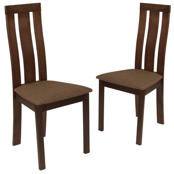 2 Pk. Glenwood Wood Dining Chair with Vertical Wide Slat Back and Fabric Seat