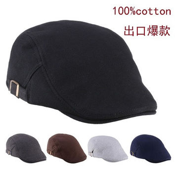 2015 Mens Womens Duckbill Fashion Classic beret cabbie newboy pure Color Flat hat golf Driving cap [9305972423]
