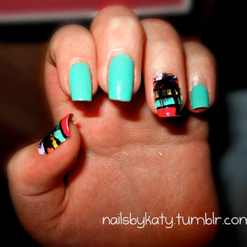Colorful Palm Tree Nails