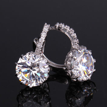 Diamond CZ Solitaire Hoop Earrings In White Or Yellow Gold
