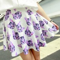 Harajuku Vintage Style Printed Cat A-line Skirt from Moooh!!