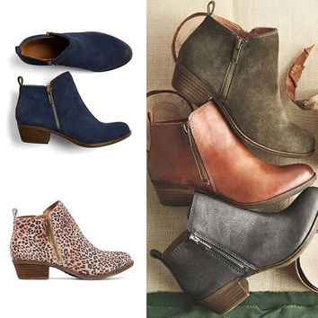 2018 New Leather Suede Booties Spring Low Heel Ankle Boots Vintage Motorcycle Boots Woman Riding Boots Plus Size 34-43