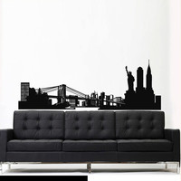 Wall Vinyl Sticker Decals Decor Art Bedroom Design Mural Words Sign New York Town City Skyline (z2750