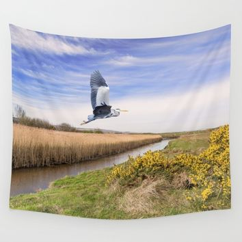 The hungry Heron Wall Tapestry by Peaky40