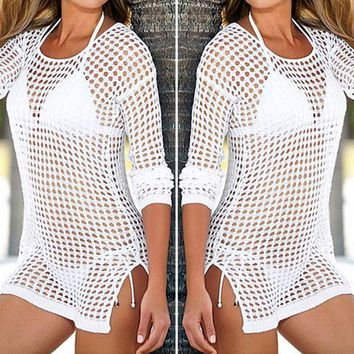 ONETOW Bikinis Women Swimsuits 2017 Beach Cover Up Sexy Women Beachwear Shirt Long Sleeve Bikini Hollow Out Woman's Swimwear