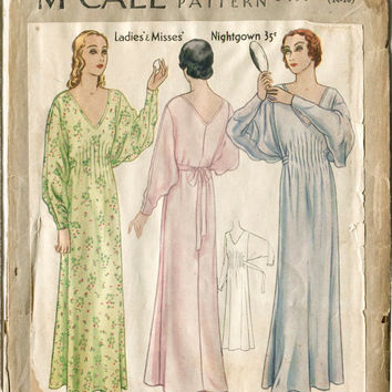 1920s *UNCUT* lingerie pattern gown negligee pintucks Bust 32 - 34 B32 B34 Size 14-16 McCall 6497