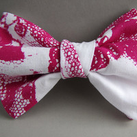 Lace Bow Tie in Fuchsia, Silkscreen on Cotton.