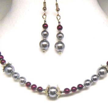 Cranberry Red and Gray Pearl Necklace and Earrings with Vintage Rhinestone and Gray Pearl Clasp, Ornate Silver Caps and Rare Cut Steel Beads