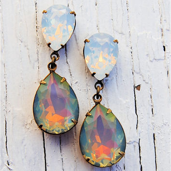 RARE Rainbow White Opal Earrings, Duchess Hourglass, White Opal Earrings - Jewelry by Mashugana