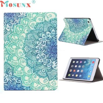 2016 UNIQUE DESIGN Floral Pattern Flip Stand Leather Case Foldable Stand Cover For iPad Mini 1 2 3 Retina Top Quality