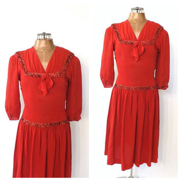 Vintage 1940s Dress New York Creation Red Rayon Party Dress 1940s Sequin Swing Dress 40s Shirt Dress Size Small Medium Sailor Dress