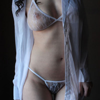 Sheer Bralette White or Black soft summer Lace + g-string sexy lace lingerie set