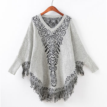 Knit Batwing Sleeve Tassels Round-neck Scarf Sweater [9067783172]