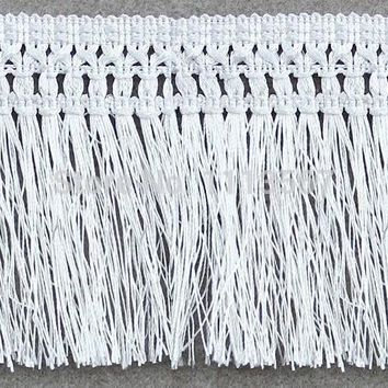 20yards Craft Braided 11.5cm White Polyester Fringe Tassel Trimming Lace Trim For Latin Dress Samba Stage Clothes Curtain Shoes