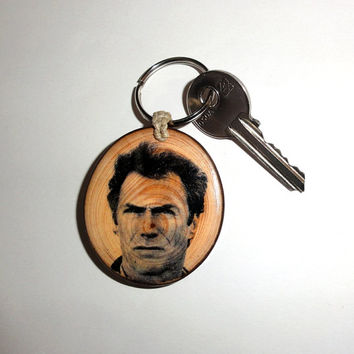 Keychain Clint Eastwood Keyring. Natural Key Ring Wood Slice. Keyring, Key Chain, Key Fob, Key Chain Personalized Name. Wooden Keychain Key