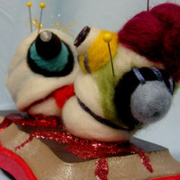 Needle Felted Zombie Pincushion Two heads are by uglyclothes