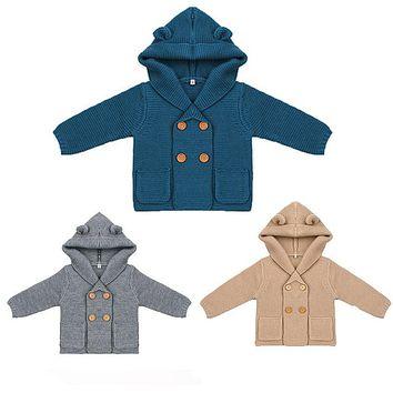 Baby Boy Knitting Cardigan Solid Color Sweater for Children Long Sleeve Hooded Coat Outwear Baby Clothes Winter Menina