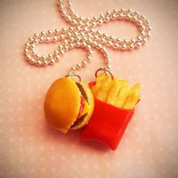 Burger and Fries Fast Food Necklace - Polymer Clay
