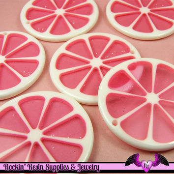 6 pc PINK GRAPEFRUIT SLICE Lucite Charm or Decoden Flatback Cabochon 35mm