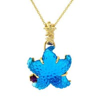 Tagliamonte - 14k Yellow Gold Blue Venetian Starfish with Ruby Pendant, 18""